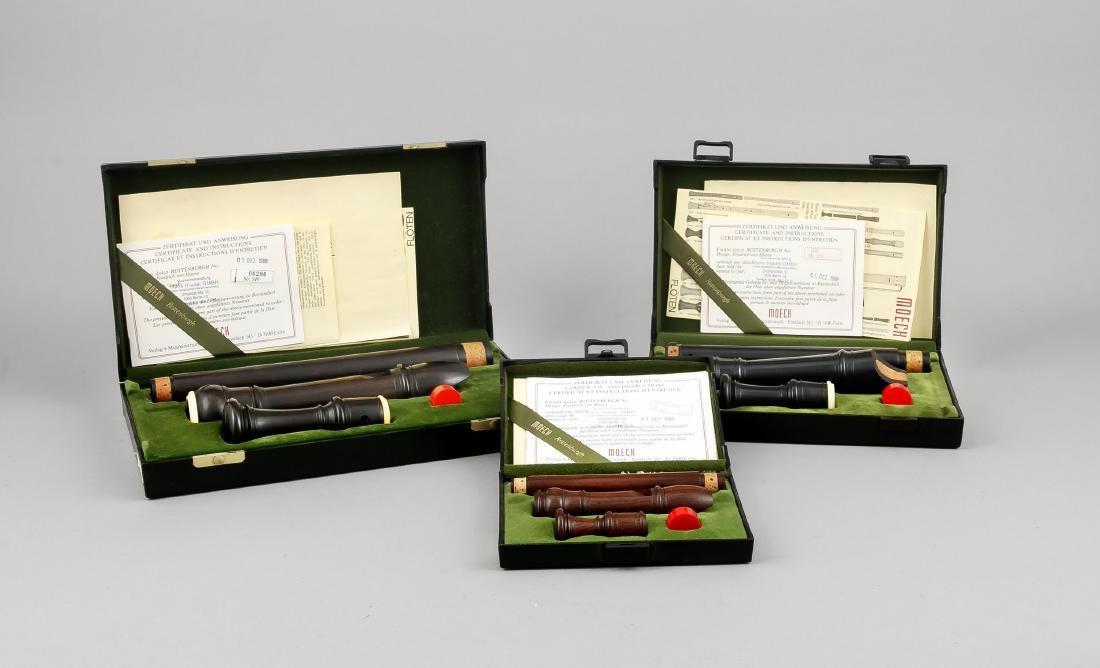 3 Blockflöten, Moeck, 1980er Jahre, drei verschiedene