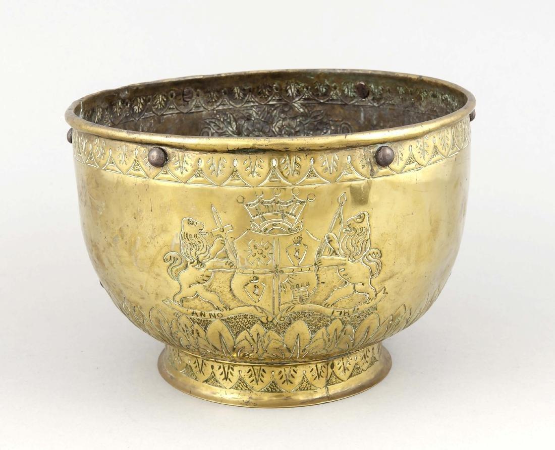 18th century brass vessel / chapel depot, round bowl