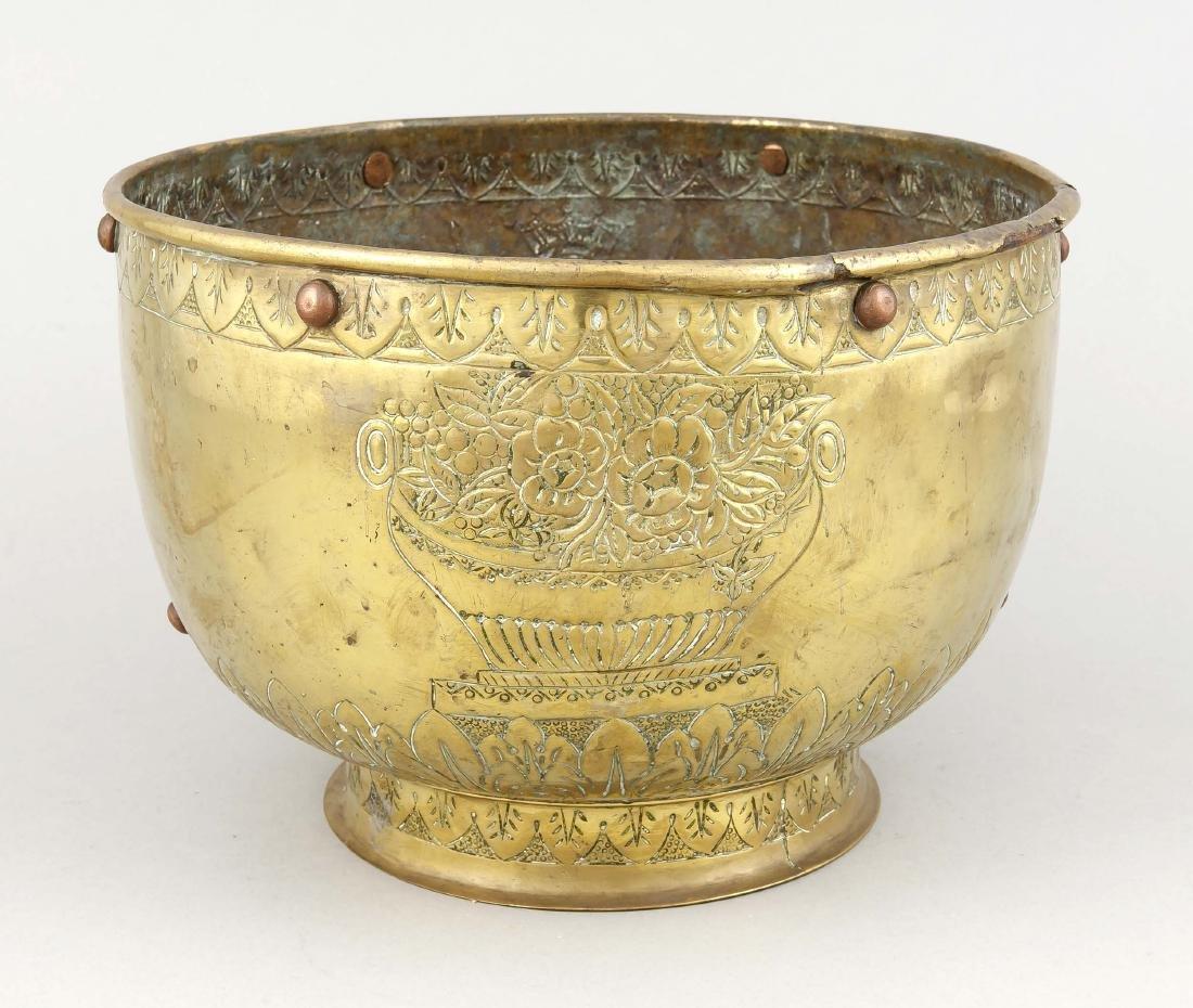 18th century brass vessel / chapel depot, round bowl - 2