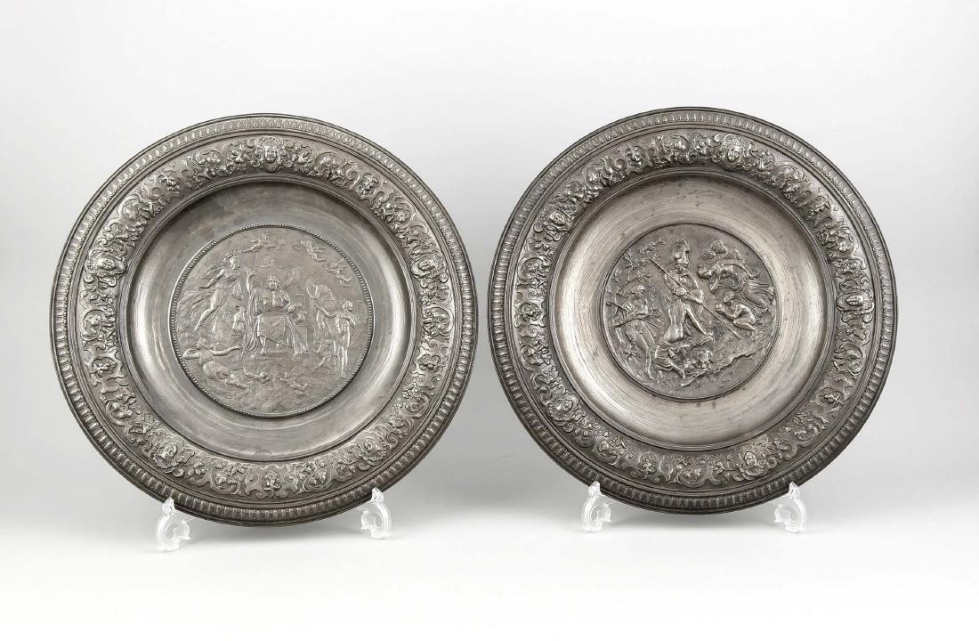 Pair of Ilsenburg wall plates, cast iron, 19th century,