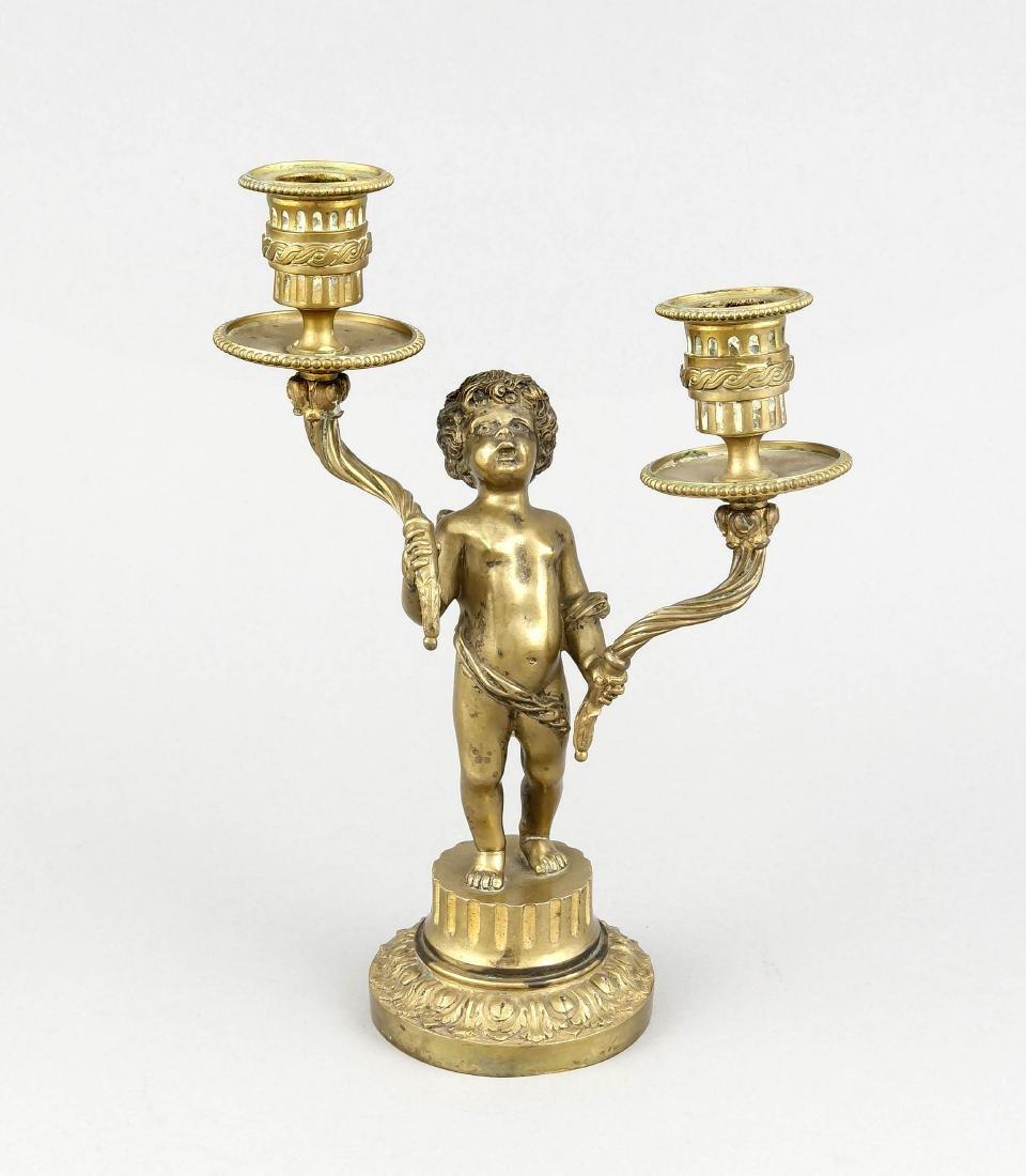 2-flg. Engel-Leuchter, 19. Jh., Bronze massiv, galv.