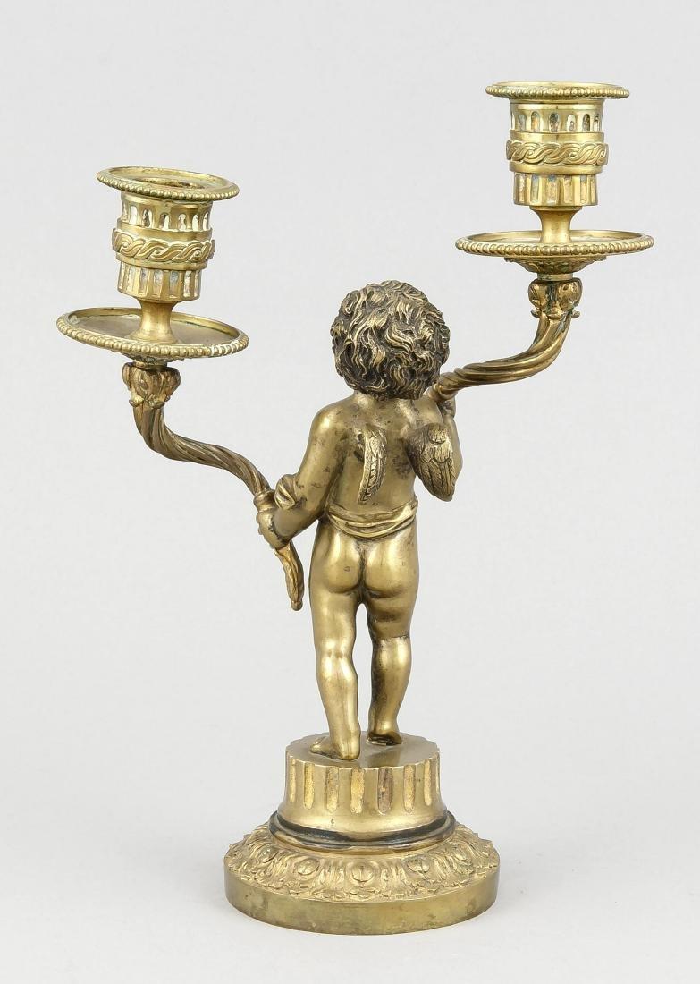 2-flg. Engel-Leuchter, 19. Jh., Bronze massiv, galv. - 2