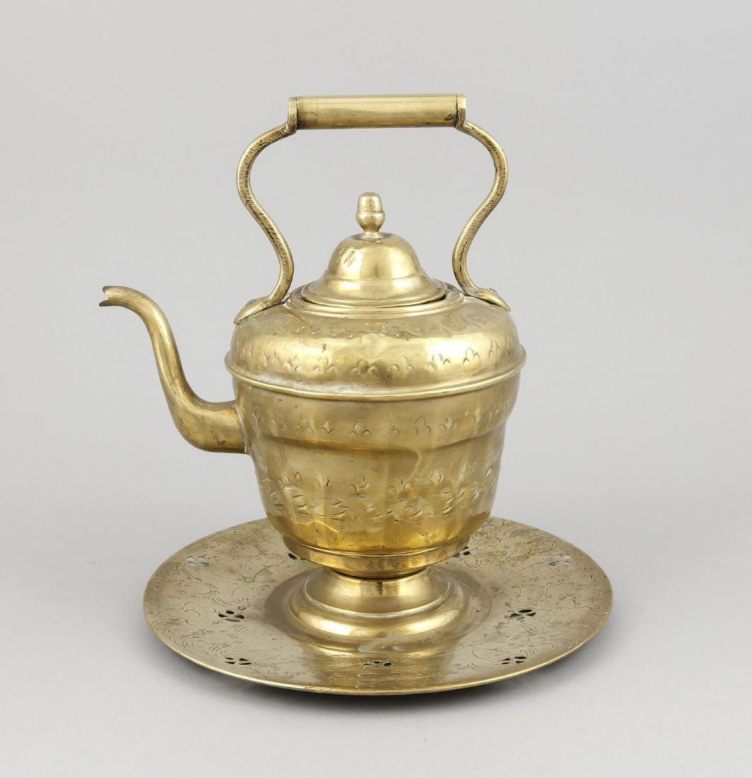 19th century Dutch chocolate jar, brass sheet, driven