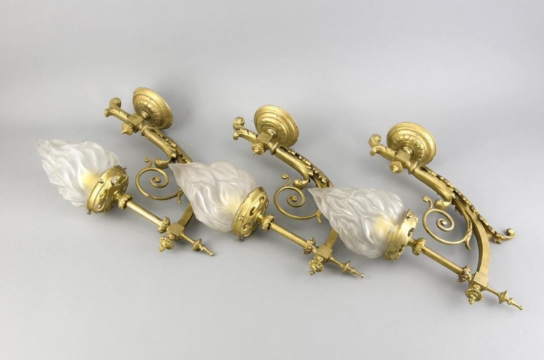 Drei Wandappliken um 1900, Gelbguss, neu