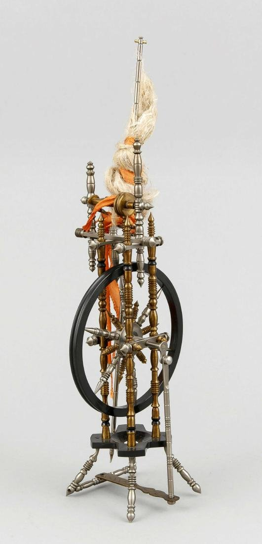 Miniatur-Spinnrad, Mitte 20. Jh., Metall,