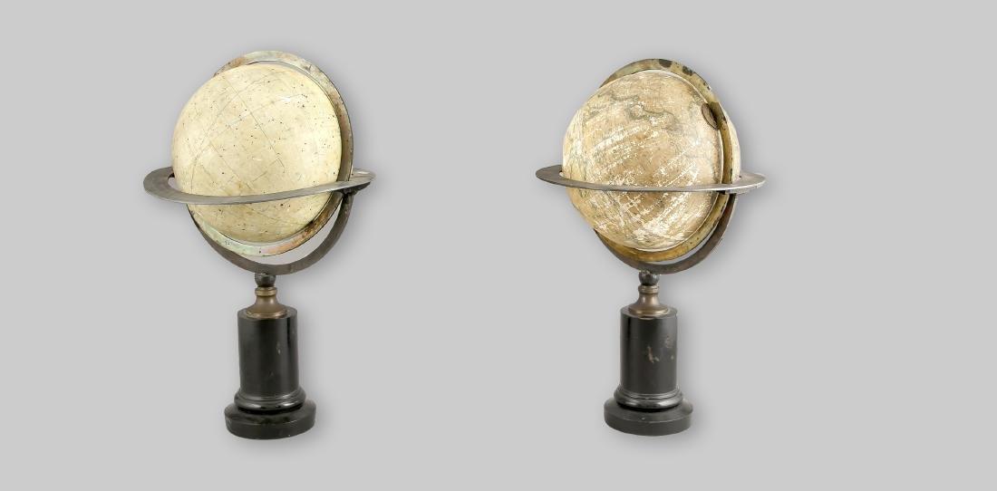 2 Globen, Frankreich, 19. Jh., einmal Himmelsglobus mit