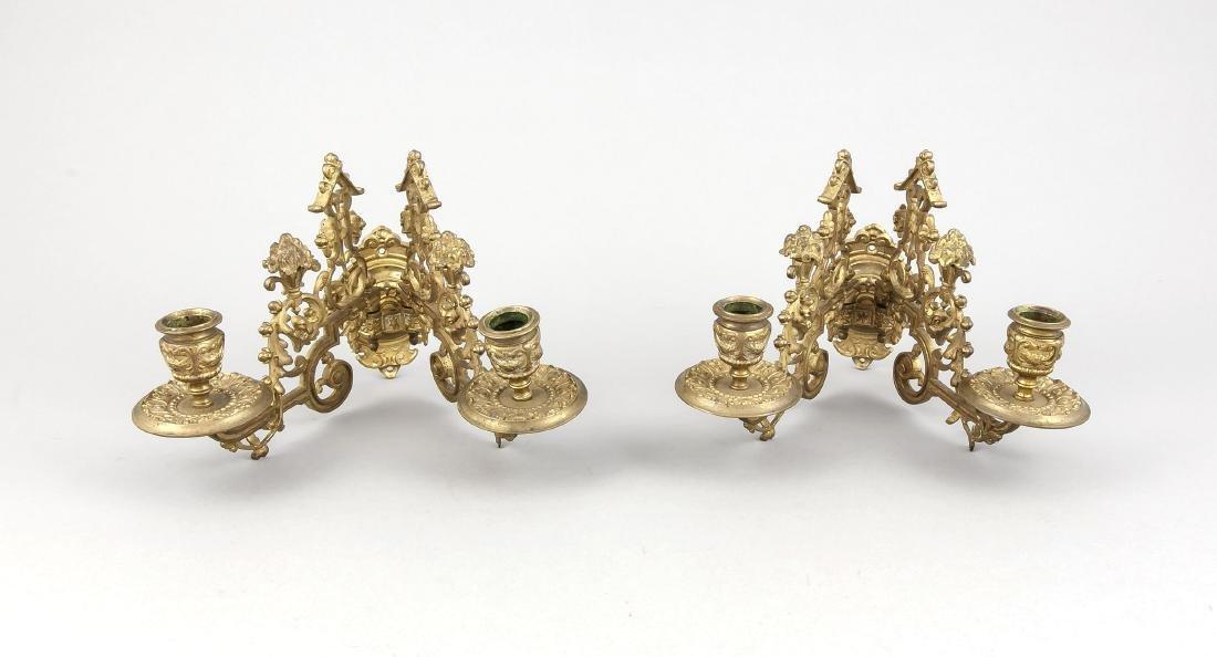 Paar Klavierleuchter des Historismus, 19. Jh., Bronze