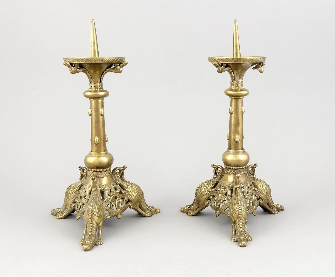 Pair of brass candlesticks, England around 1900,