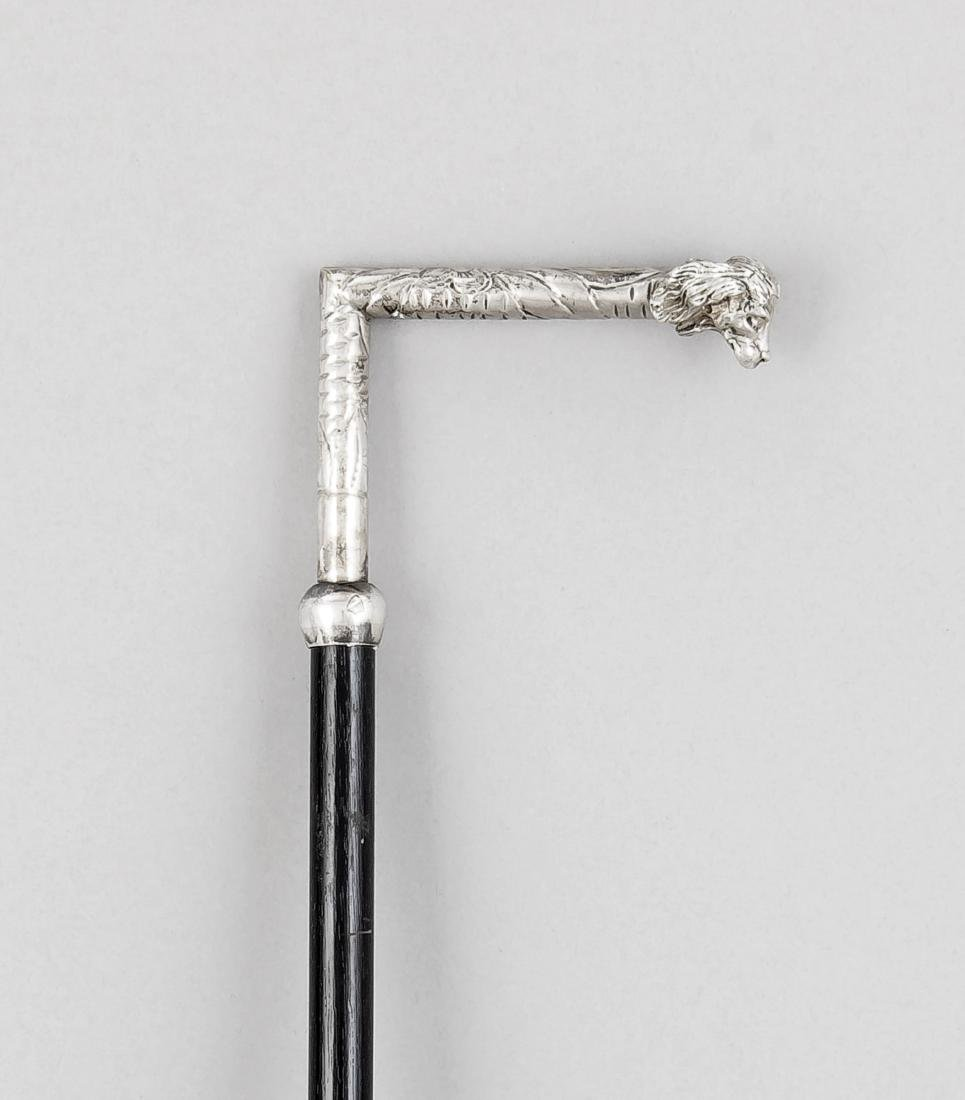Walking stick, around 1900, black lacquered wooden