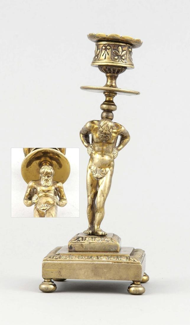 Leuchter mit Atlas-Schaft um 1900, Weißmetallguss,