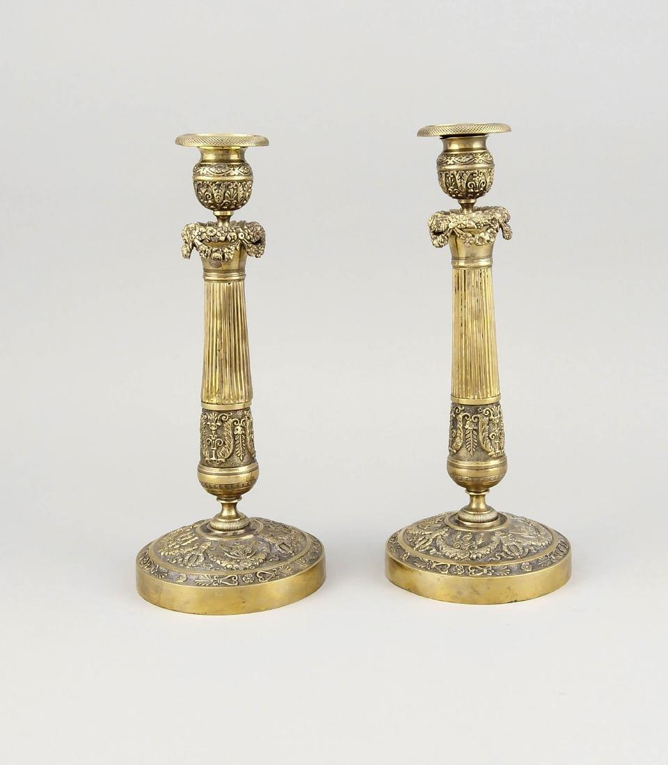 Paar Leuchter, Historismus, 19. Jh., runder Fuß mit