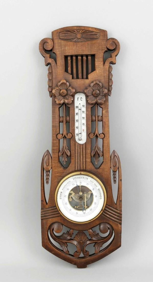 Wandbarometer mit Thermometer, Holland, Anfang 20. Jh.,
