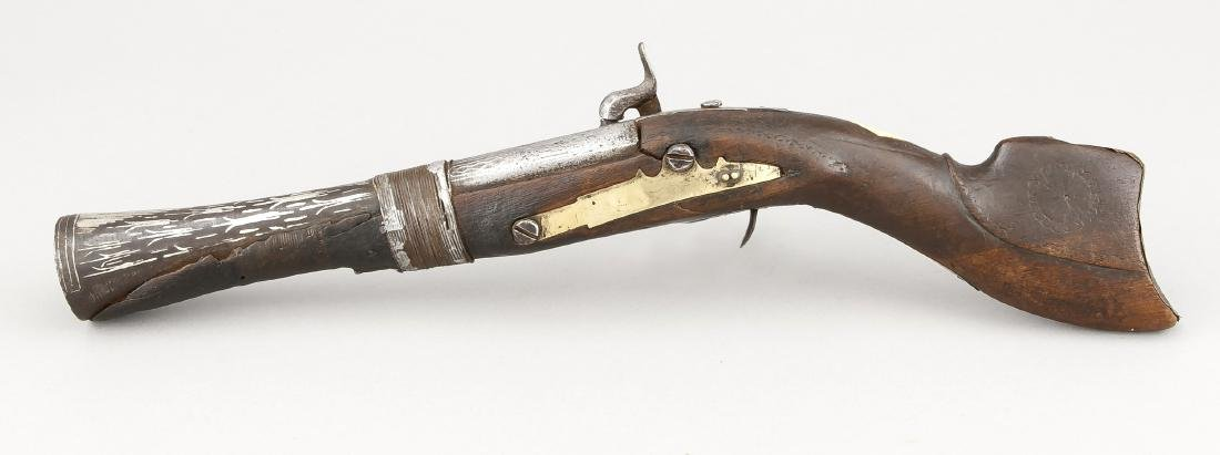 Perkussionspistole des frühen 19. Jh., Holzschäftung - 2
