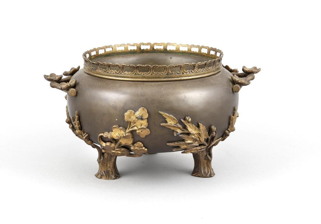 Bronzegefäß, Europa? Japonismus? 19. Jh., 3 Füße in