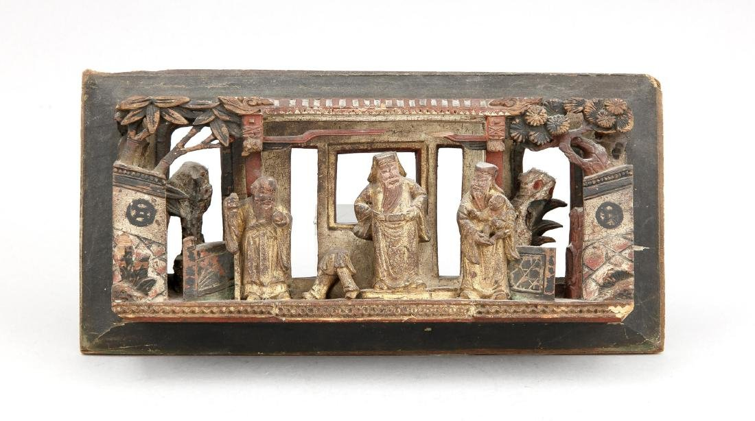 1 Paneel Holzschnitzerei, China, um 1900, vollplastisch