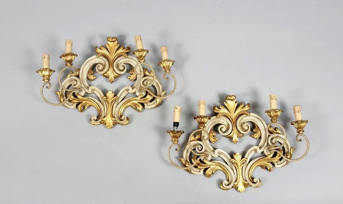 Paar Wandappliken im Barock-Stil, 20. Jh., Holz,