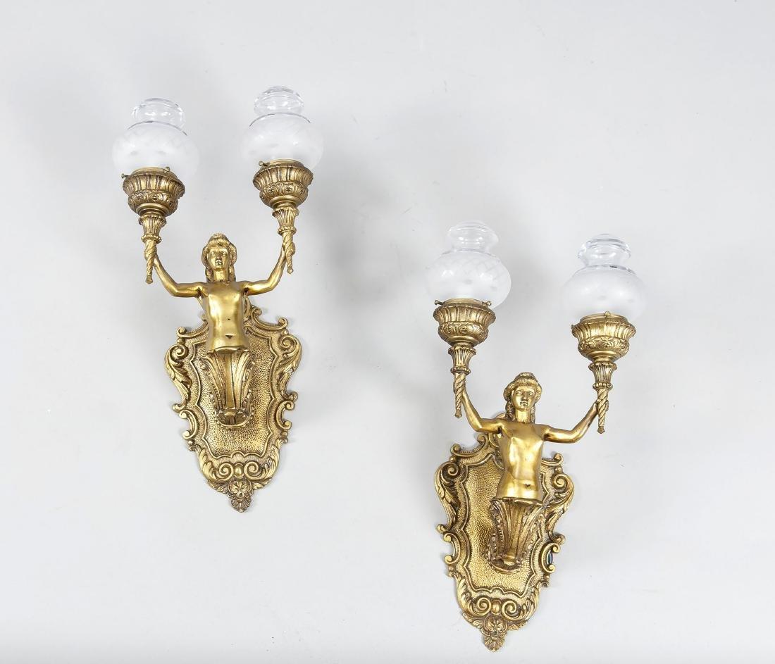 Paar zweiflammige Wandlampen, England?, 19. Jh.,