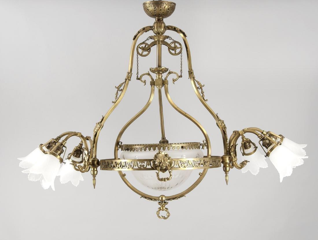 Große Deckenlampe um 1900, elektr., 7-flg., filigranes