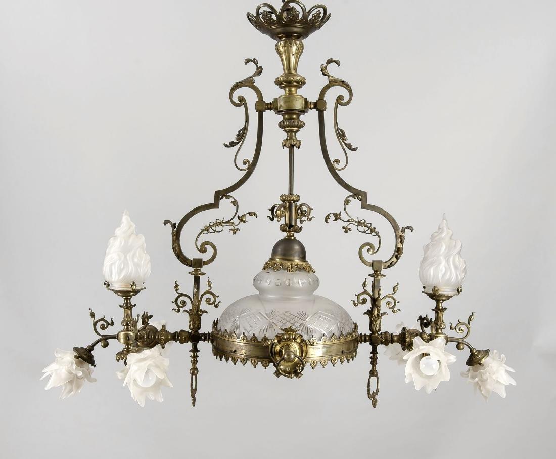 Große, gründerzeitliche Gaslampe um 1880, elektr.,