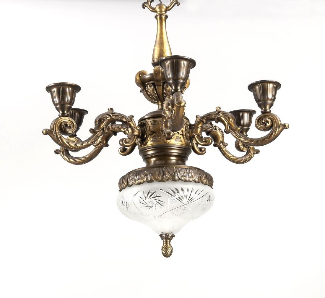 Gründerzeitliche Deckenlampe, elektr., 7-flg.,
