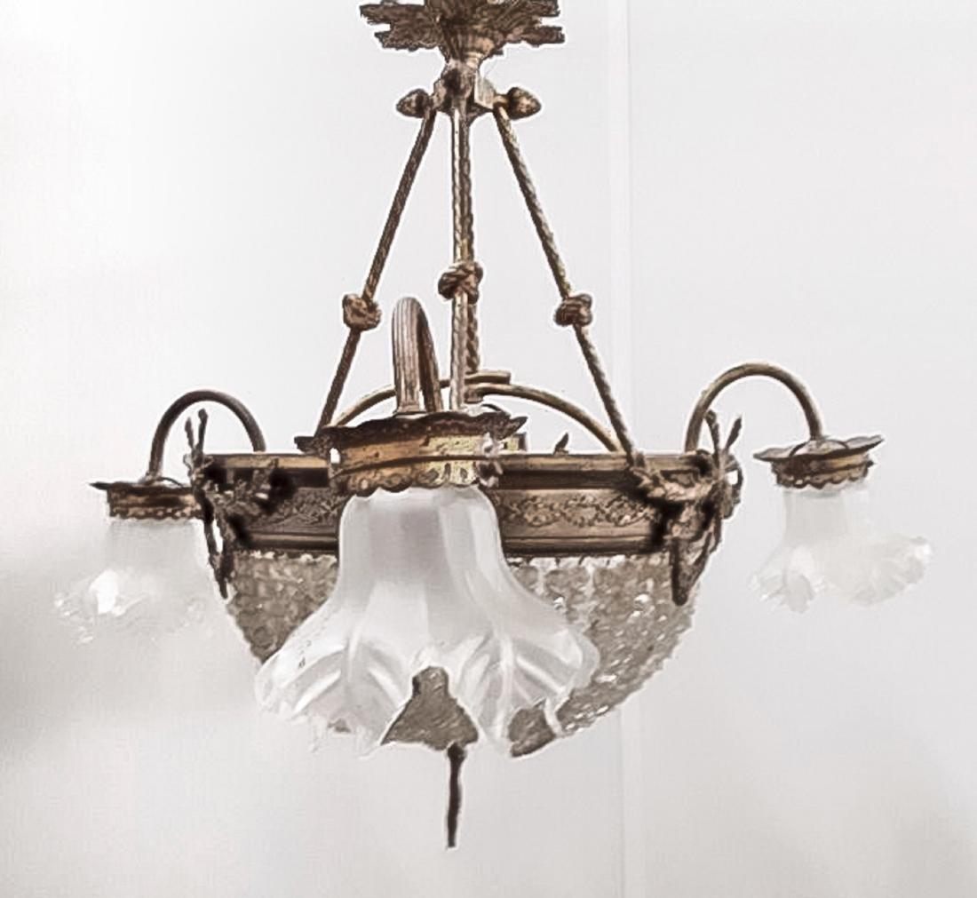 Deckenlampe, 1. H. 20. Jh., elektr., 4-flg., Gelbguss