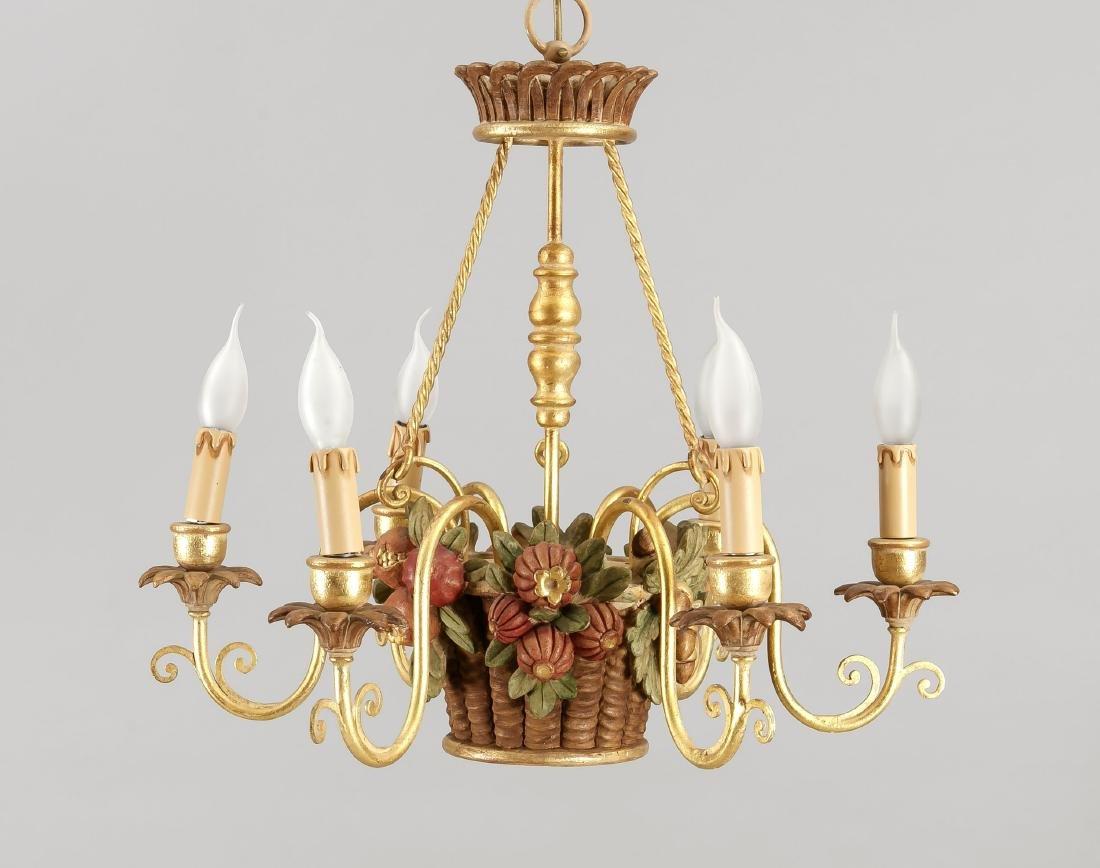 Deckenlampe in Form eines Früchtekorbes, Italien 2. H.