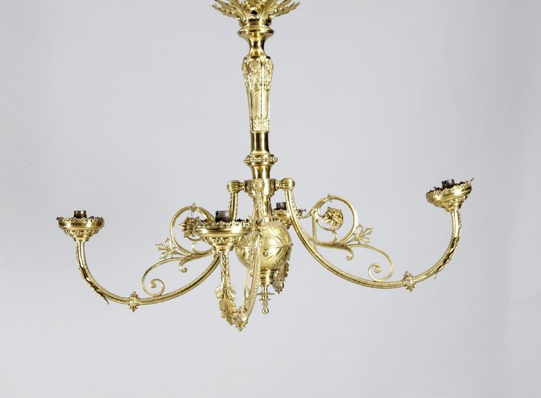 Deckenlampe des 19. Jh., elektr., 4-flg., Messing,