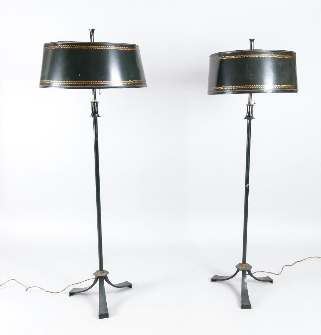 Zwei Stehlampen 1. H. 20. Jh., elektr., 3-flg.,