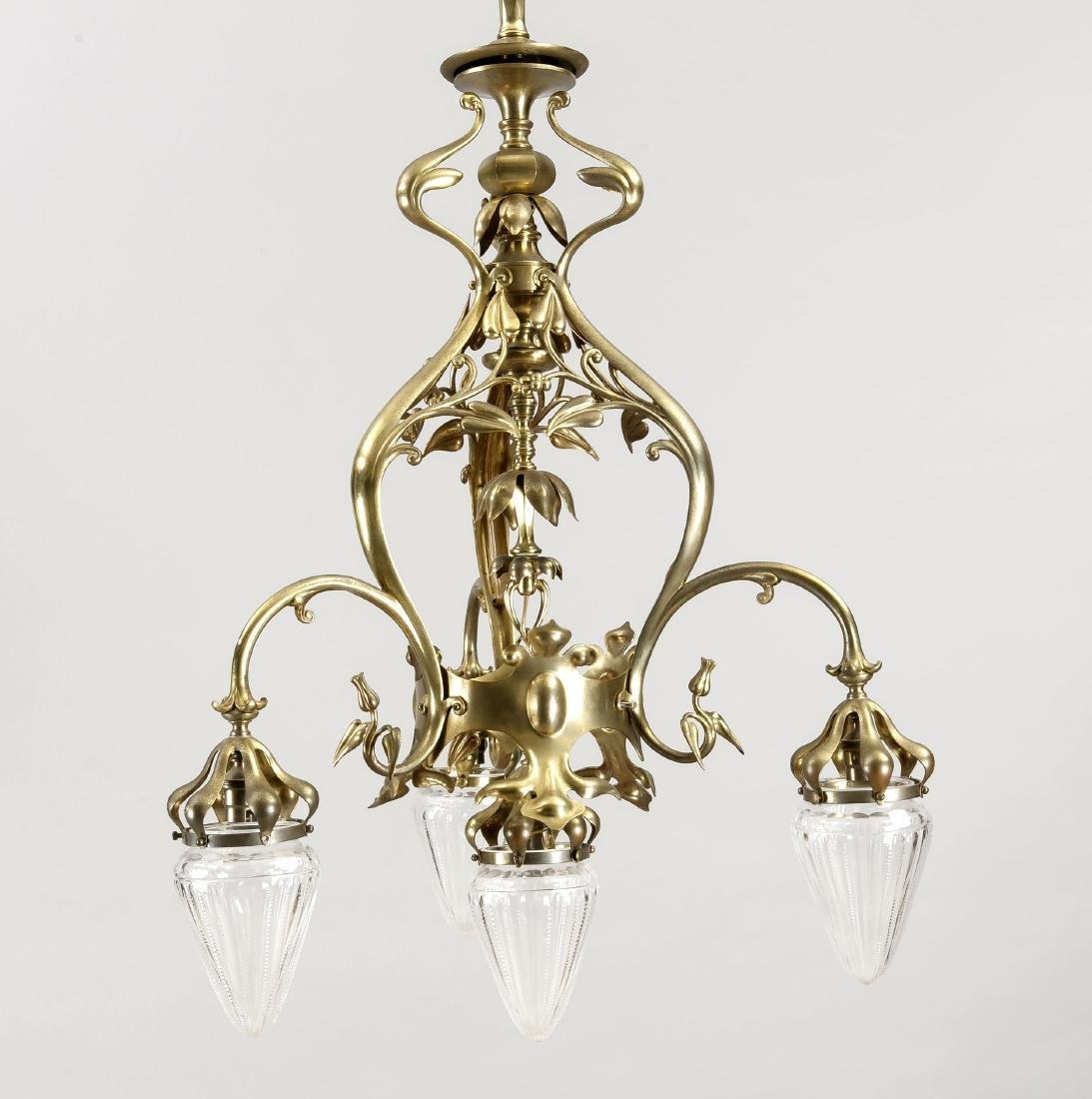 Französische Jugendstil-Deckenlampe um 1900, elektr.,
