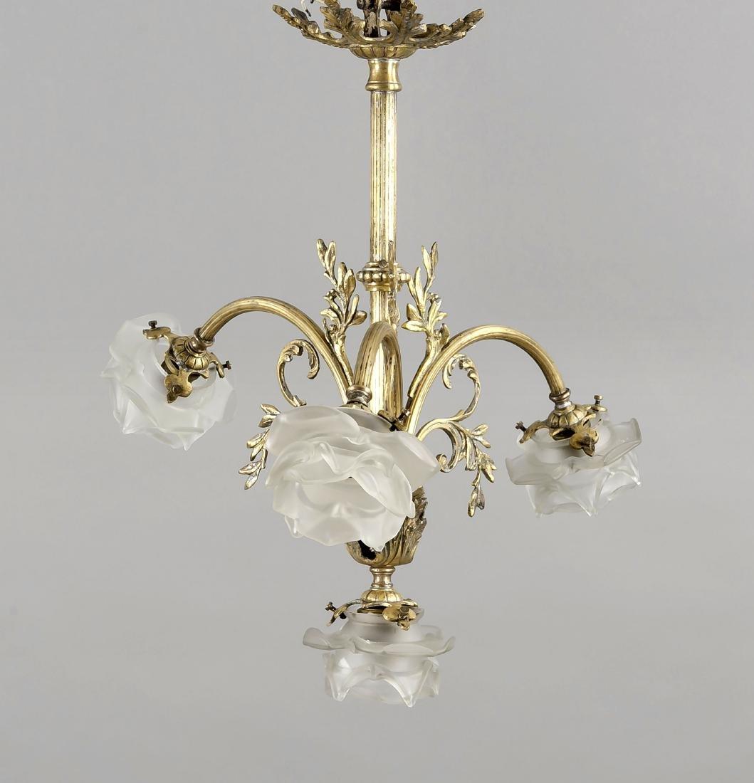 Deckenlampe, 1. H. 20. Jh., elektr., 4-flg., Gelbguss,