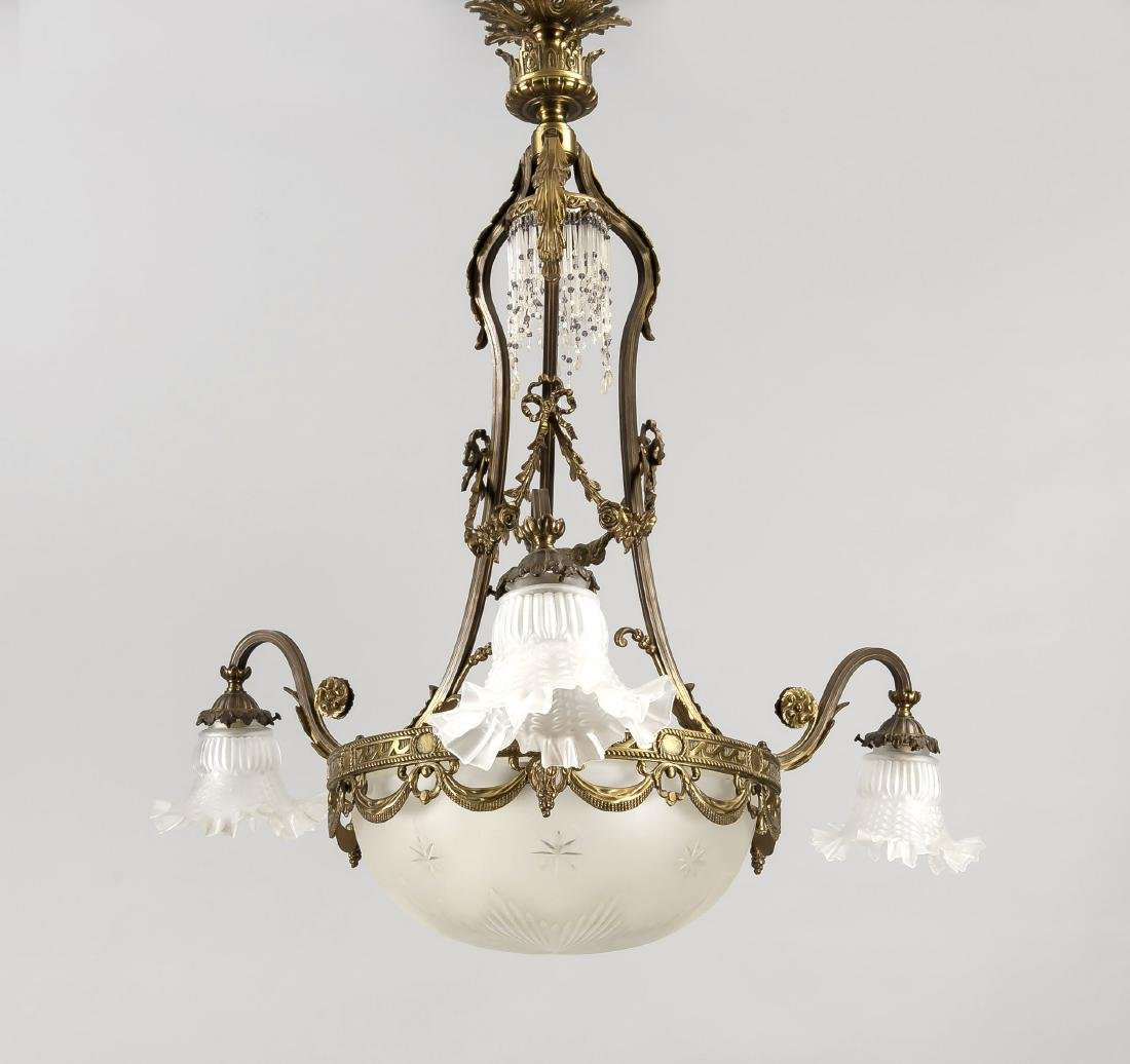 Deckenlampe, 1. H. 20. Jh., elektr., 7-flg.,
