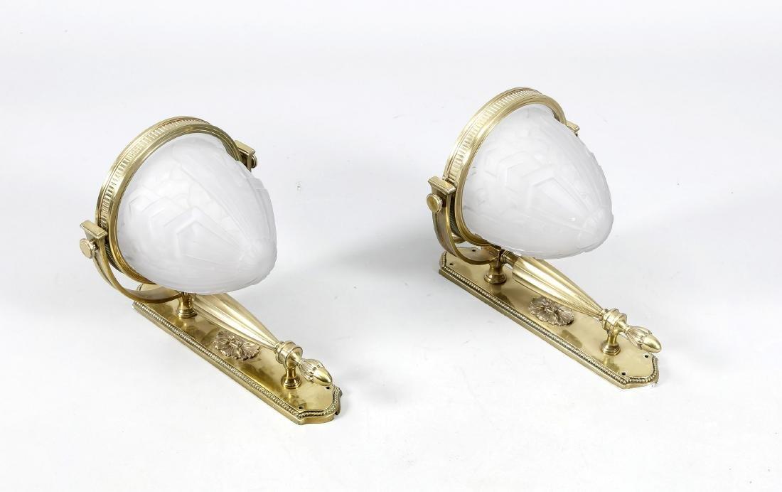 Paar Wandappliken um 1920, elektr., 1-flg., Messing,