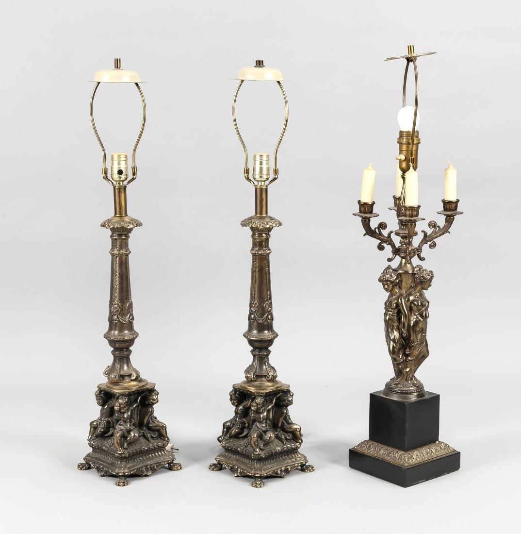 Lampengarnitur 20. Jh., 3-tlg., elektr., 3-flg., sowie