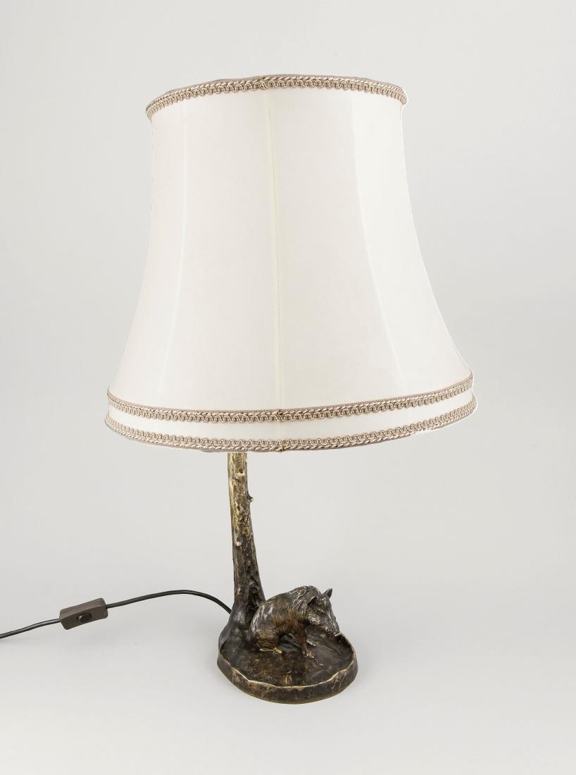 Jagdliche Tischlampe mit Wildschwein, 1. H. 20. Jh.,