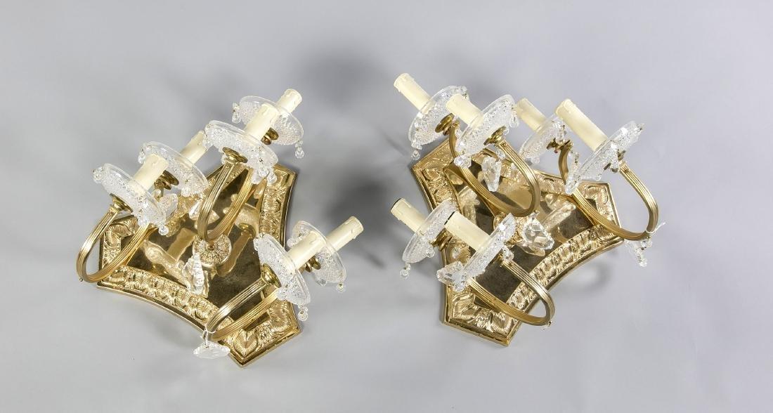 Paar Wandappliquen, Ende 20. Jh., elektr., 5-flg.,
