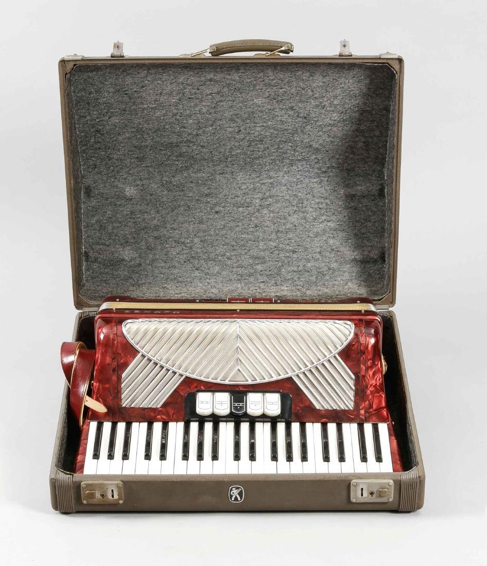 Hohner Verdi III Akkordeon, rotes Gehäuse mit - 2