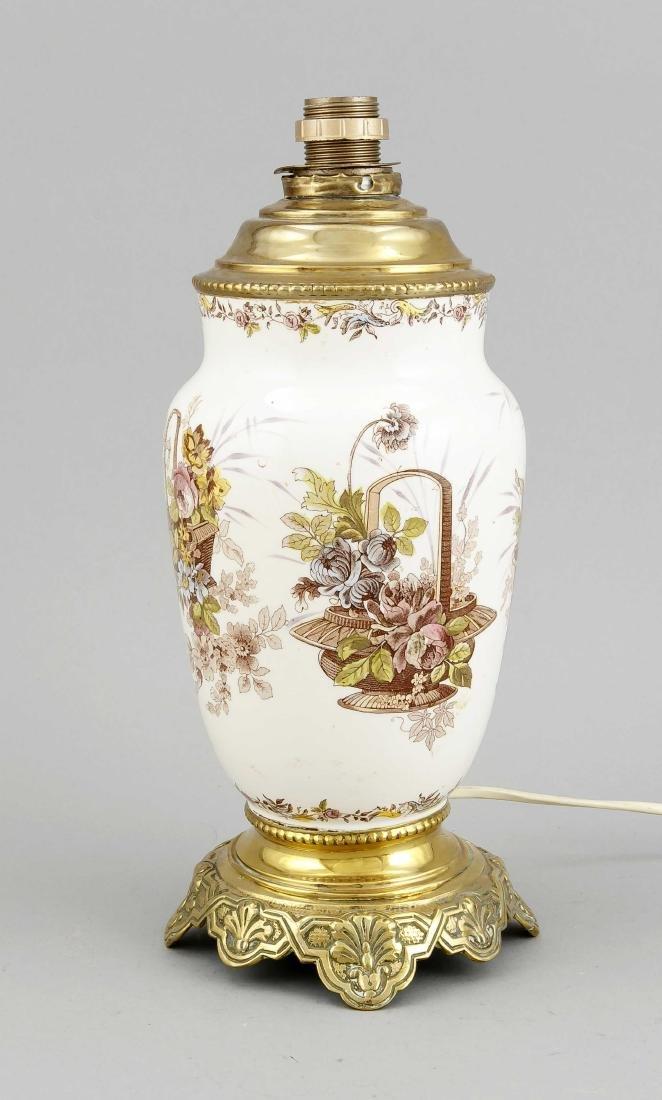 Tischlampe, 1. H. 20. Jh., Vase mit gedrucktem Dekor,