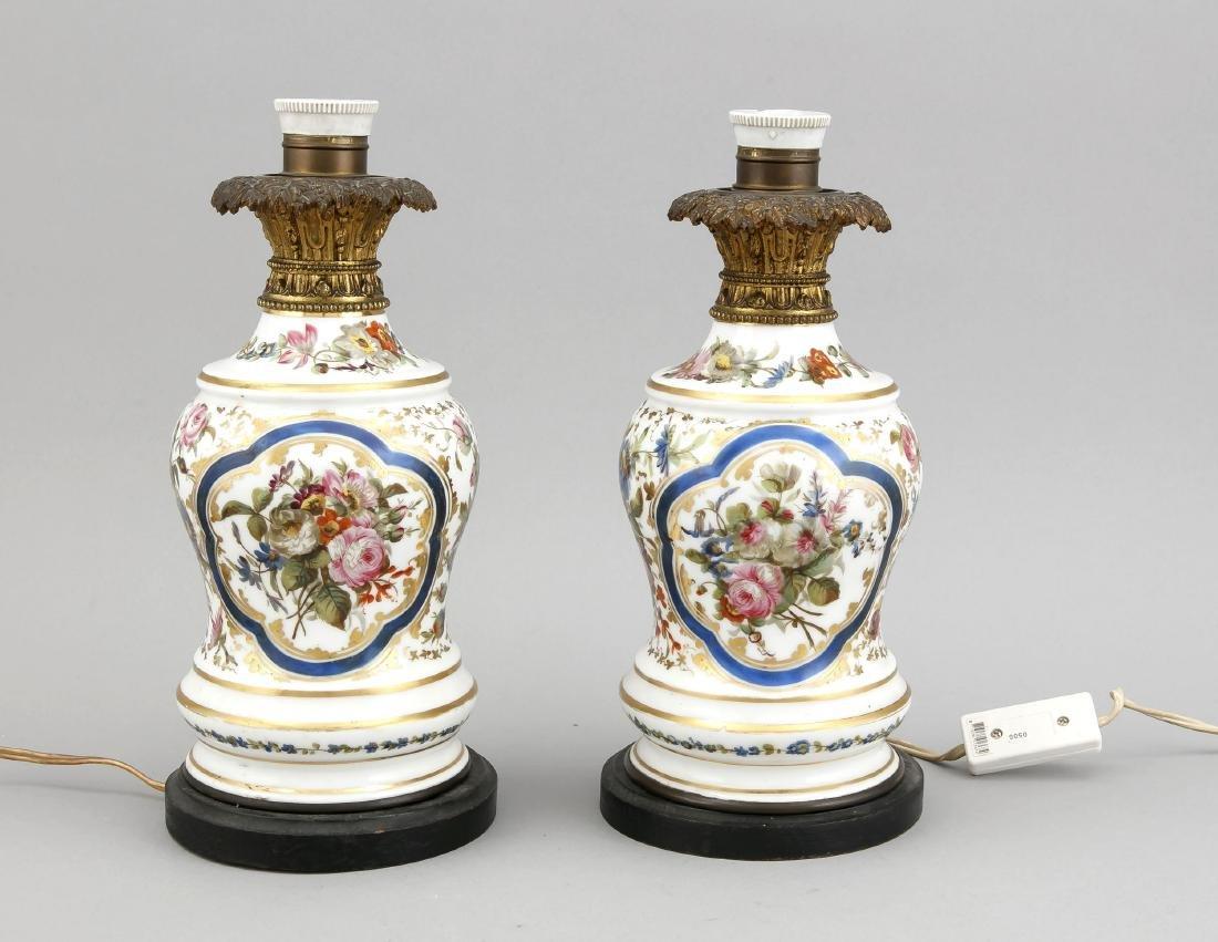 Paar Tischlampenfüße um 1900, elektr., 1-flg.,