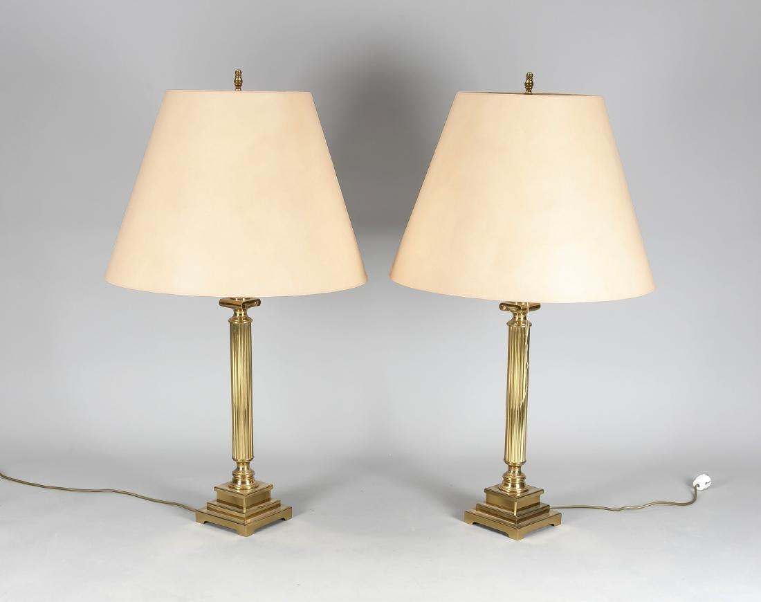 Paar große Tischlampen, 2. H. 20. Jh., elektr., 2-flg.,