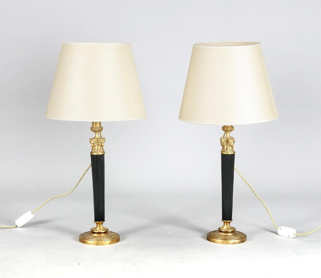 Paar Tischlampen mit Leuchtern im Empirestil als
