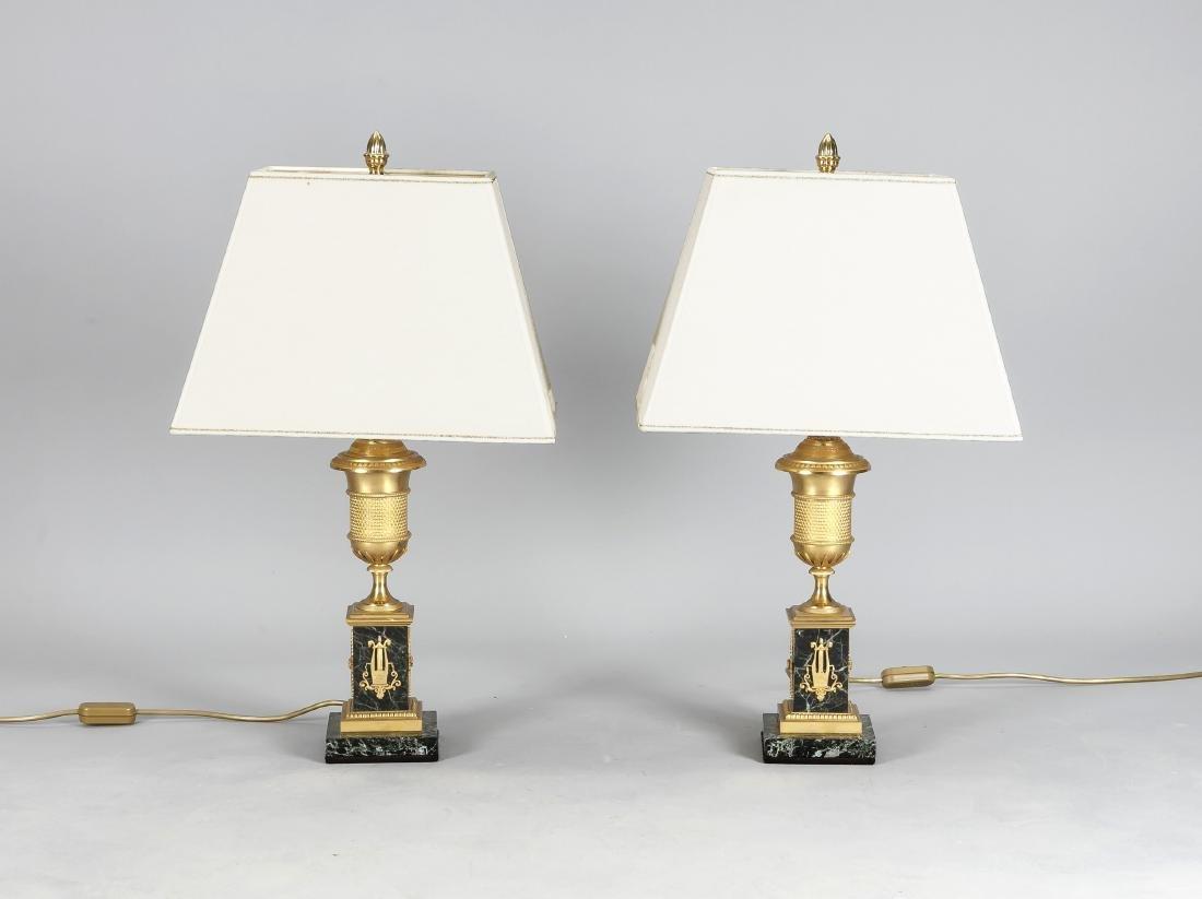 Paar Tischlampen mit Lampenfüßen im Empirestil, 19.