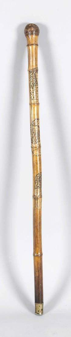 Spazierstock, Bambus, China, mit figürlichen Gravuren,