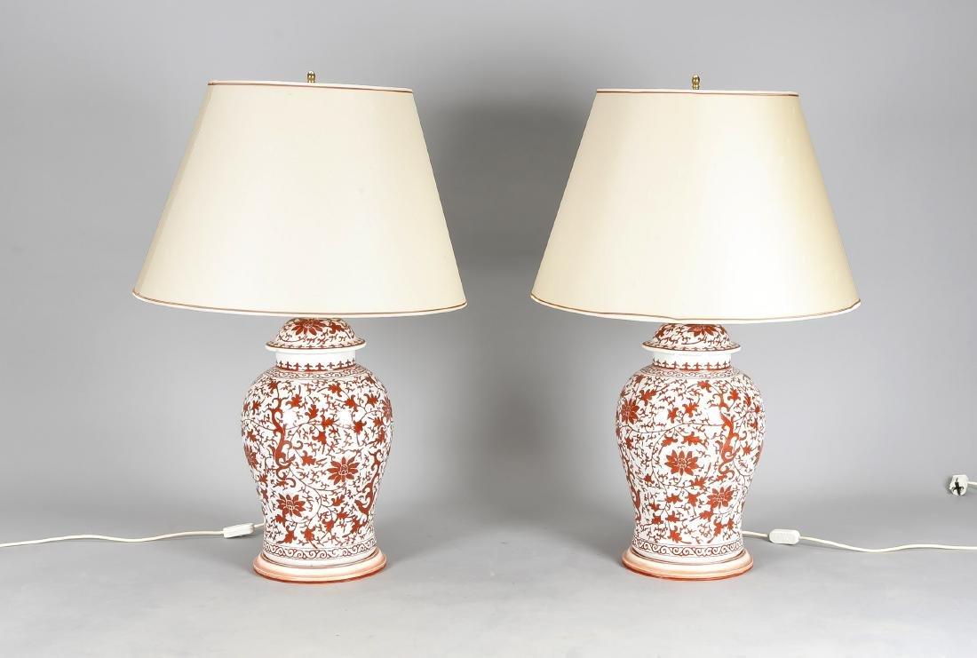 Paar große Tischlampen im chinesischen Stil, elektr.,