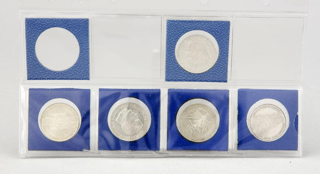 Konvolut von fünf 5-DM Silbermünzen, Gedenkmünze Johann