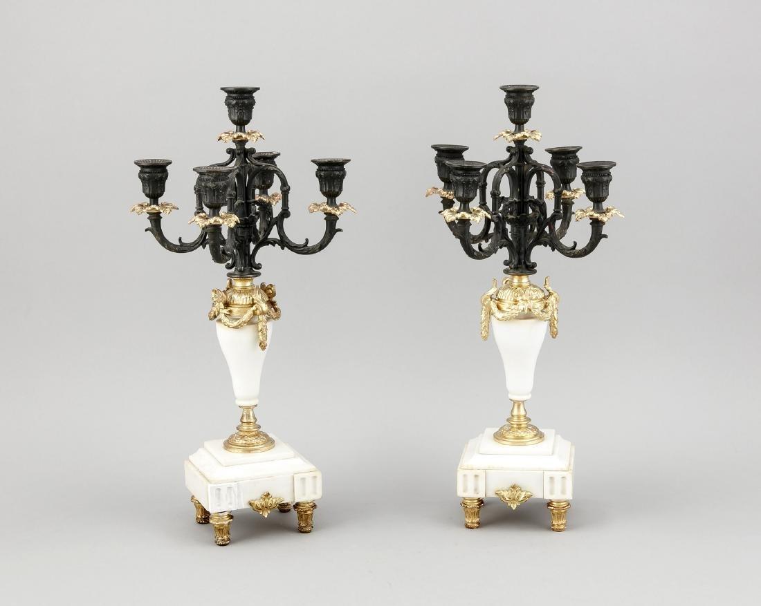 Paar Leuchter, Frankreich, 19. Jh., 5 flg.,