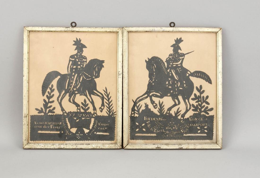2 Scherenschnitte, England?, 19. Jh., 1 x Napoleon, 1 x