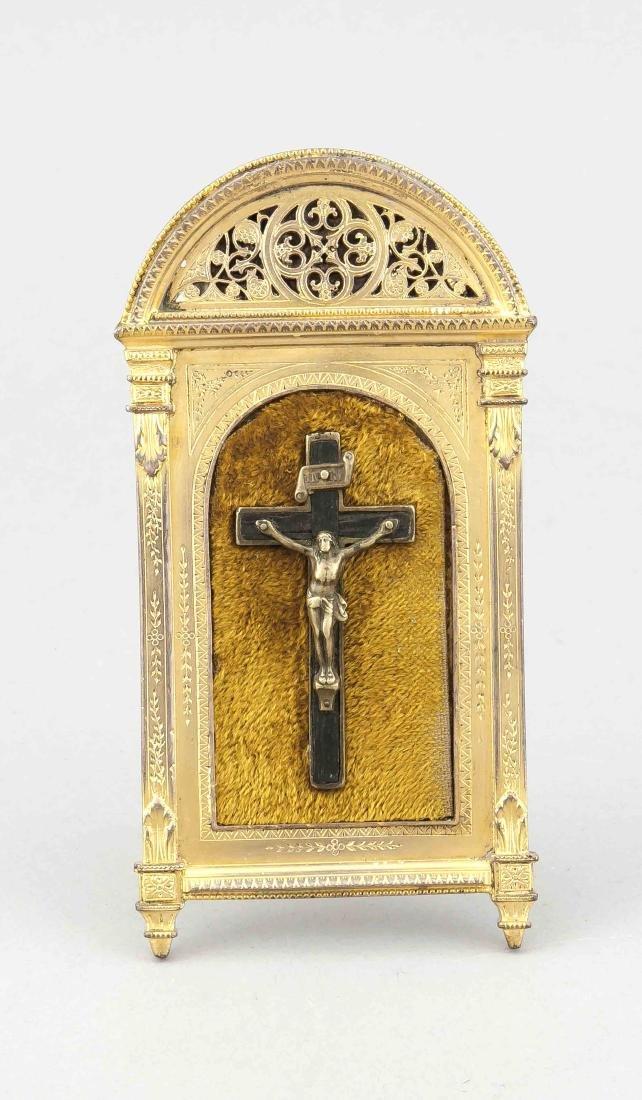 Andachtsbild mit Kruzifix, Frankreich, um 1900,
