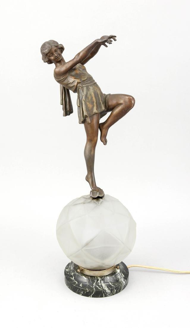 Art-Deco-Lampe, Frankreich?, 1. V. 20. Jh., runder,