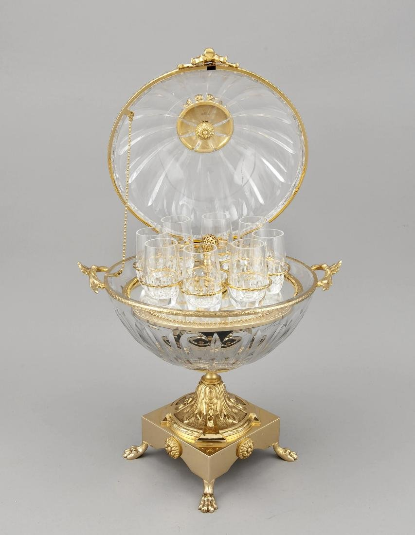 Tischbar in Form eines Globuses, 20. Jh., quadratischer