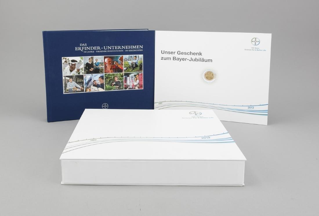 Bayer Medaille und Jubiläumsbuch 150 Jahre Bayer,